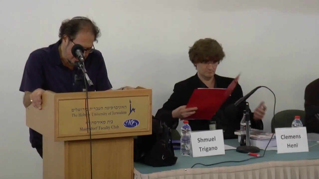Prof. Shmuel Trigano introduces Dr. Clemens Heni at the last big International Conference of Prof. Robert S. Wistrich, head of the Vidal Sassoon International Center for the Study of Antisemitism (SICSA), 25-28 May 2014, Hebrew University, Jerusalem